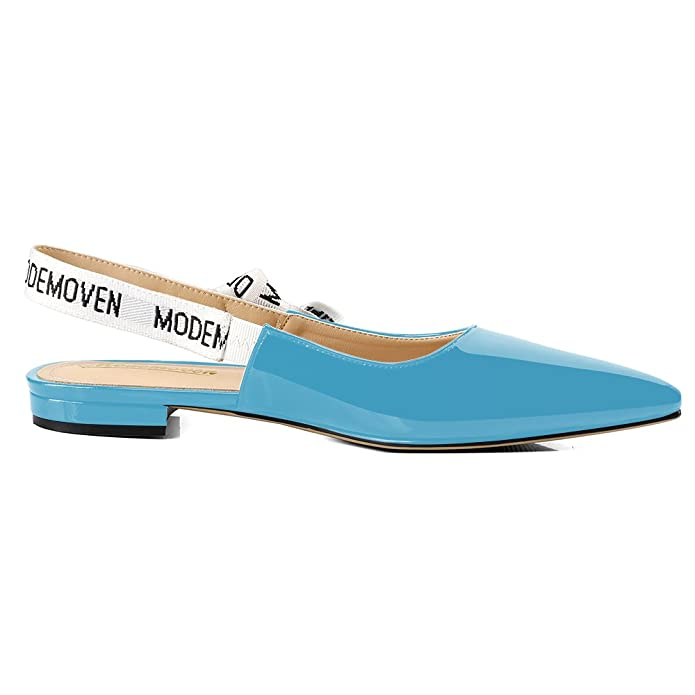 50539e12886 Modemoven Women s Sky Blue Patent Leather Sling-Back Ballet Pumps ...