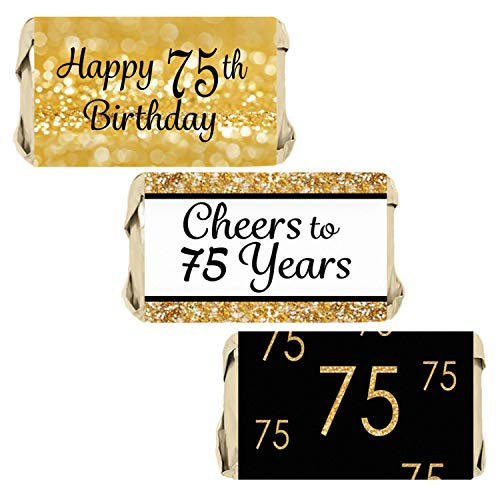 DISTINCTIVS 75th Birthday Party Mini Candy Bar Wrappers | Black and Gold | 45 Stickers