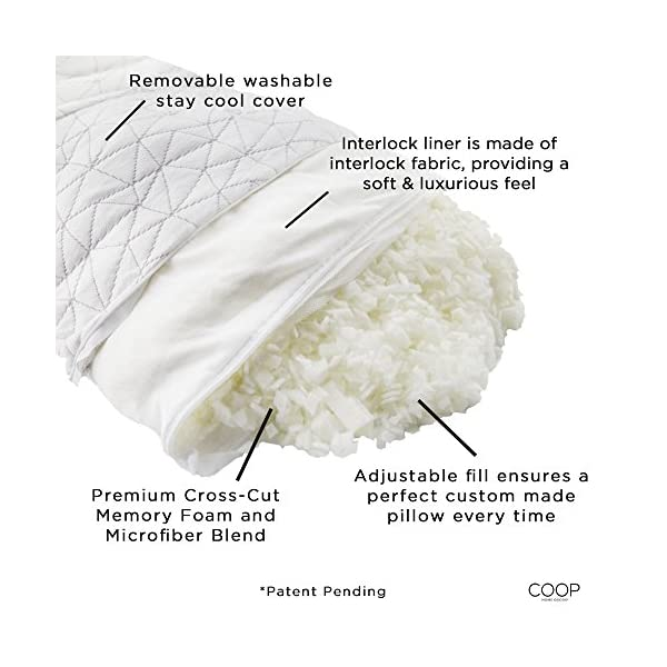Coop-Home-Goods-PREMIUM-Adjustable-Loft-Shredded-Hypoallergenic-Certipur-Memory-Foam-Pillow-with-washable-removable-cover-20-x-30-Queen-size