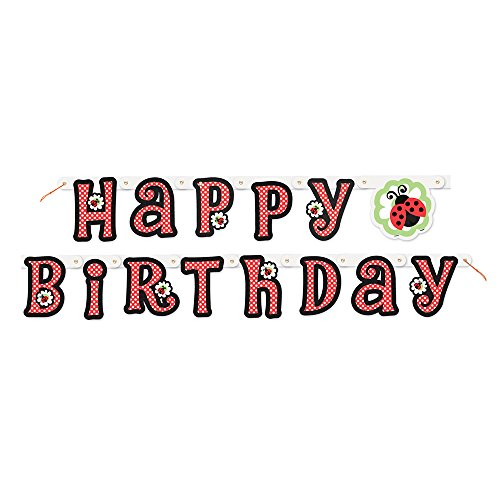 5ft Ladybug Party Happy Birthday Banner