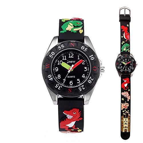 Kid Watch 3D Cute Cartoon Silicone Wristwatches Quartz Watch 30M Waterproof Time Teacher Gift for Little Girls Boy Children (Dinosaur, Black)
