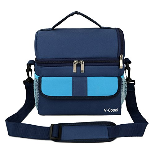 Double Decker Lunch Bag Portable Cooler Bag Insulated Thermal Lunch Box with Shoulder Strap Baby Milk Backpack Blue