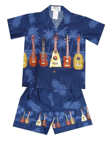 Boy's Ukulele Hawaiian Cabana Shirt Set