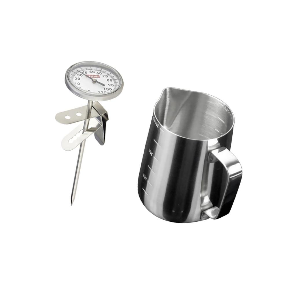 Jili Online Instant Read Espresso Coffee Steamed Milk Frothing Thermometer + Coffee Jug