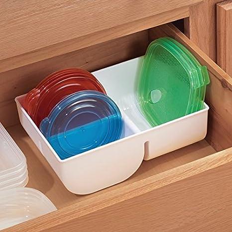 mDesign Caja organizadora para guardar hasta 38 tapas de fiambreras - Cesta organizadora para cubiertas de envases herméticos y más - Organizador de cocina ...