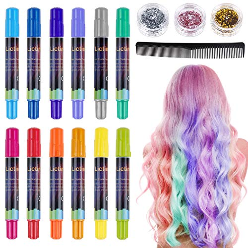 🥇 Lictin Tiza para el cabello Tintes capilares con tiza Para niños y niñas Pluma de tinte temporal para el cabello de destello metálico No tóxico Lavable
