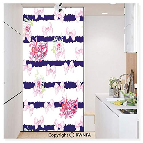 (Decorative Privacy Window Film Venetian Style Carnival Masks on Stripes with Satin Bows Roses Flowers No-Glue Self Static Cling for Home Bedroom Bathroom Kitchen Office,Pink White Blue)