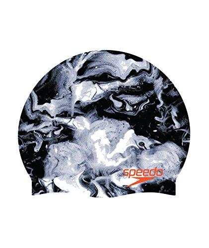 Speedo Elastomeric Printed Silicone Swim Caps, Speedo Black, One Size (Solid Cap Swim Latex)