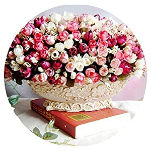 15 Heads/Bouquet Small Bud Roses Bract Artificial Flower Silk Rose DIY Wedding Home Christmas Decor Flowers Rose Gift 57