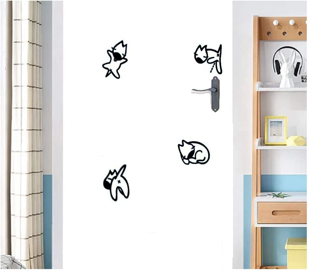 DIY Decor Family Art Home Decor Kids Bedroom Office Home Decoration Removable Switch Sticker Light Switch Decor Decals 4 Cute Black Fox Cartoon Foxes Wall Stickers