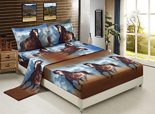 HIG 3D Bed Sheet Set -4 Piece 3D Running Texas Wild Horse Printed Sheet Set Queen Size (D06) - Soft, Breathable, Hypoallergenic, Fade Resistant -Includes 1 Flat Sheet,1 Fitted Sheet,2 Shams