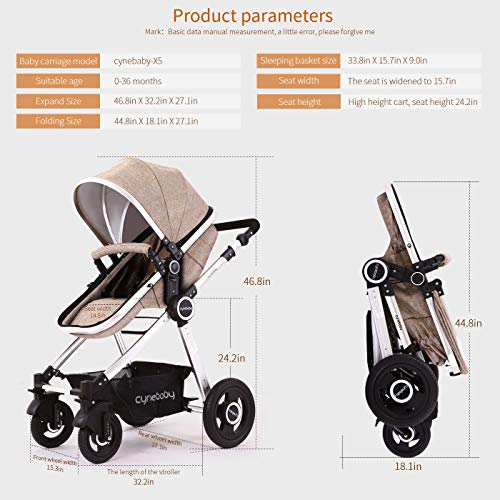51aj8aPOhNL - Baby Stroller Bassinet Pram Carriage Stroller - Cynebaby All Terrain Vista City Select Pushchair Stroller Compact Convertible Luxury Strollers Add Foot Cover (Light Brown)