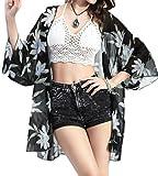 pivaconis Kimono de mujer de Gasa Impresión verano playa Cardigans Cover Up, Negro, Talla única