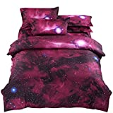 YOUSA Red Outer Space Bedding Sky Cosmos Night Bedding Sets Full (07)