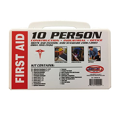 Rapid Care First Aid 08112C 10 Person 112 Piece ANSI/OSHA Compliant Emergency First Aid Kit In Wall Mountable Poly Case, Pack of 12