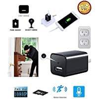 Hidden Spy Security Camera 1080P Mini USB Wall Charger Home or Office