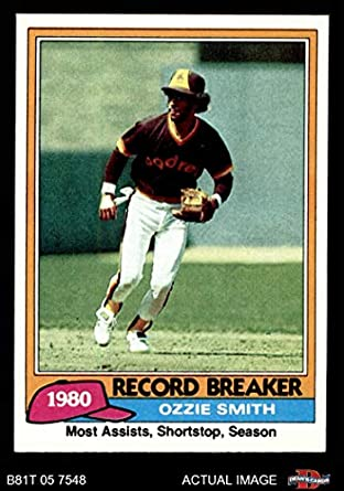 Amazoncom 1981 Topps 207 Record Breaker Ozzie Smith San