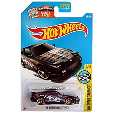 Hot Wheels 2016 HW Speed Graphics '96 Nissan 180SX Type X 176/250, Black: Toys & Games