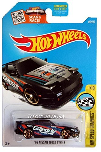 Hot Wheels 2016 HW Speed Graphics '96 Nissan 180SX Type X 176/250, Black