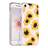 COSANO Cute Girl Floral Design for iPhone 8 case,iPhone 7 Clear case Tropical Flowers[Hard PC Back +Shock Absorbing Soft Bumper] Sunflower Slim Transparent Flexible Protective Cover (Sunflower 7/8)