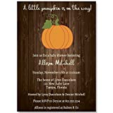 Baby Shower Invitations, Country Pumpkin, Wood, Brown, Orange, Green, White, Rustic, Fall, Autumn Baby, October, Set of 10 Custom Printed Invites with Envelopes