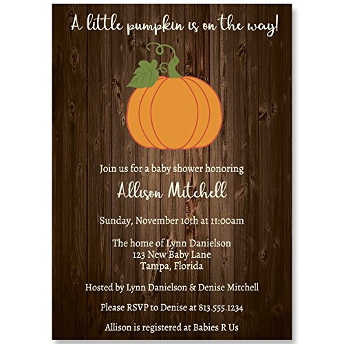 Baby Shower Invitations, Country Pumpkin, Wood, Brown, Orange, Green, White, Rustic, Fall, Autumn Baby, October, Set of 10 Custom Printed Invites with Envelopes by The Invite Lady (Image #1)