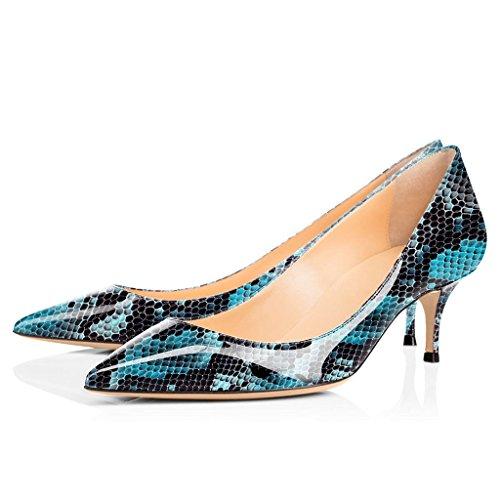 6 ELASHE Court Schuhe cm Spitze Blau 2 Pumps Python 5 Heels Kitten Klassische Damen Zehenstilett wqxnqaYA