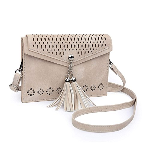 - seOSTO Women Small Crossbody Purse, Tassel Cell Phone Purse Wallet Bags (Beige Tassel)