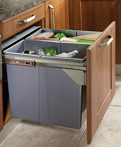 RECYCLE BIN PULL OUT KITCHEN WASTE BIN 600MM   68 LTR (JC609M 2)