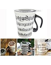 Xrten wit muziekbeker, keramiek koffiemok theekop met deksel geschenk mok