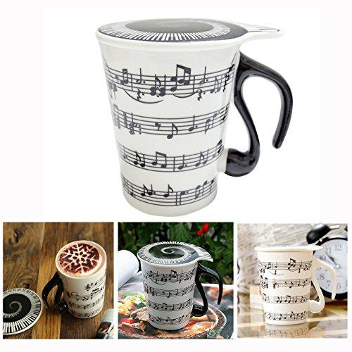 Cisixin Taza de ceramica de Signo Musico con Tapa