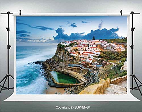 Photography Backdrops Portuguese Town Coast Azenhas do Mar Beach by Cliffs Village Shore Theme 3D Backdrops for Photography Backdrop Photo Background Studio Prop -