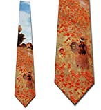 Men's Field Of Poppies Claude Monet Three Rooker Necktie Tie Neckwear