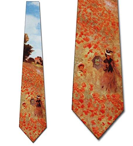 Poppy Field Argenteuil (Men's Field Of Poppies Claude Monet Three Rooker Necktie Tie Neckwear)