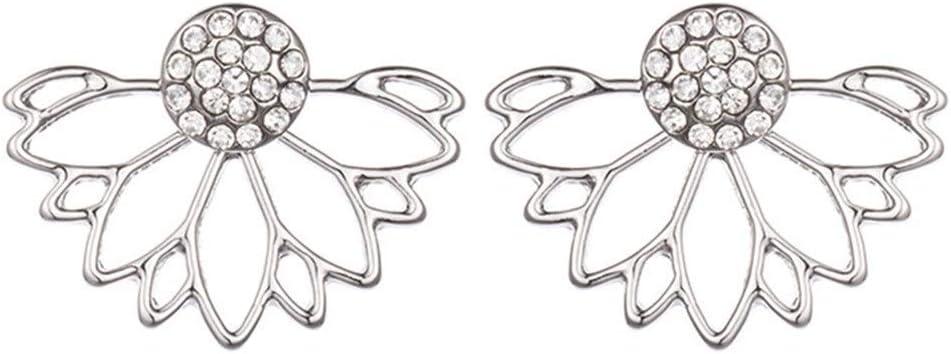 Pendientes de niña para mujer Pendientes de diamante llenos en forma de abanico de Lotus creativo para mujer con orejas perforadas hipoalergénicas para níquel sin joyas (1 par) Pendientes de gota para