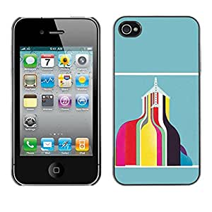 GOODTHINGS Funda Imagen Diseño Carcasa Tapa Trasera Negro Cover Skin Case para Apple Iphone 4 / 4S - edificio extracto del trullo del rosa amarilla