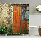 French Country Shower Curtains Ambesonne Shutters Decor Shower Curtain Set, Old Fashion Country House French Style Entrance Stone Wall Farmhouse Picture Print, Bathroom Accessories, 69W X 70L Inches, Brown Green