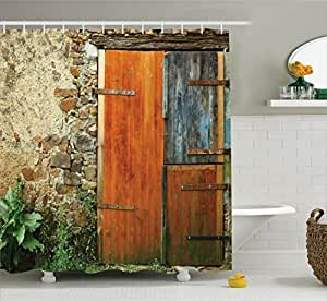 Shutters decor shower curtain set by ambesonne old fashion country house french for Country style bathroom shower curtains