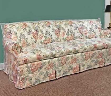 108 Clear Vinyl Furniture Protector - Large Sofa Cover - 108W x 40D x 42H rear, 18H front