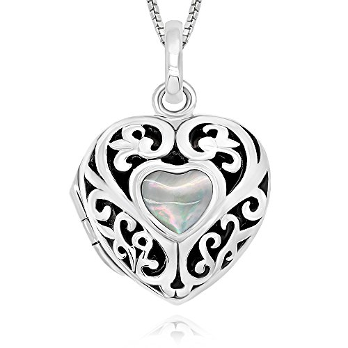 """925 Sterling Silver Simulated Moonstone Heart Locket Necklace, 18"""""""