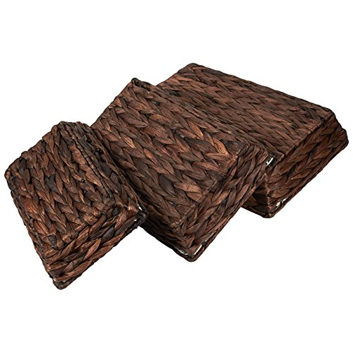 Fabric Storage Trays 3 Piece Baskets Lined Nesting
