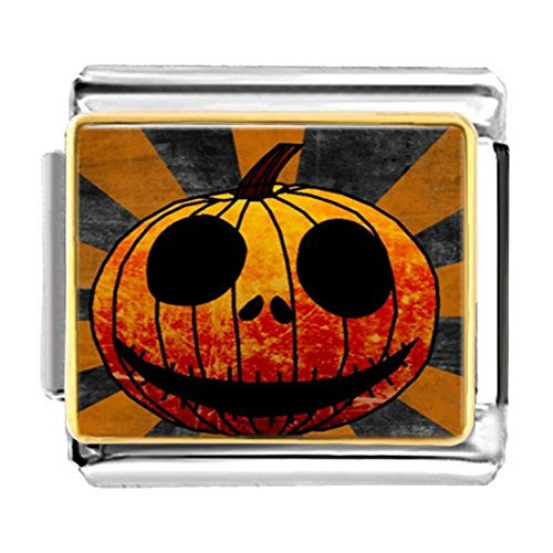 GiftJewelryShop Gold Plated Halloween carved pumpkin face Bracelet Link Photo Italian Charms (Pugster Halloween Pumpkin)