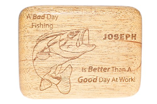 Engraved Personalized Mahogany Fly Fishing Lure Box made our list of personalized camping gifts for RV camp and tent campers