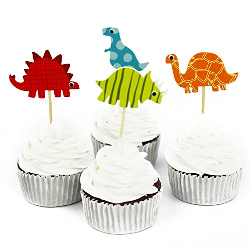 48 Pcs Dinosaur Cupcake Picks Cupcake Toppers Food Fruit Picks for Decoration By Fireboomoon