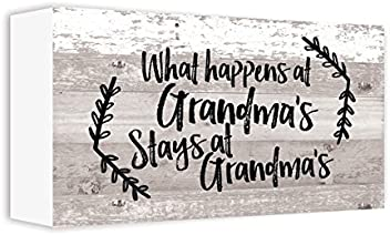 ReLive Decorative Expressions Painted Wooden Box Signs (What Happens at Grandma's, 5x10)