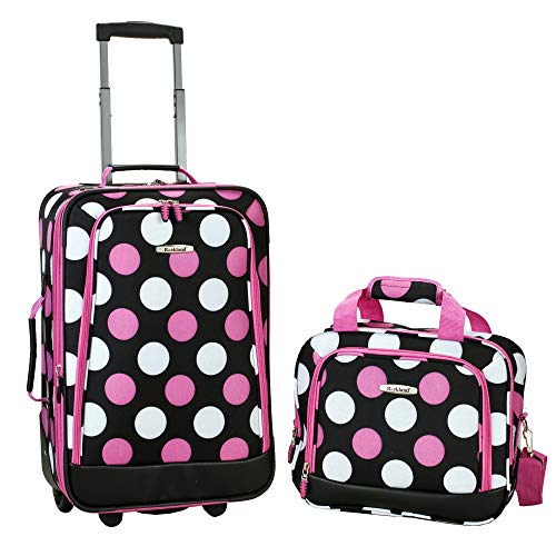 (Rockland Luggage 2 Piece Printed Luggage Set, Mulpink Dots, Medium)