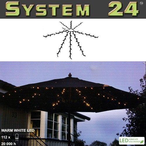 Best Season System 24 LED Sonnenschirm Lichterkette 8x 1,4m warmwei/ß