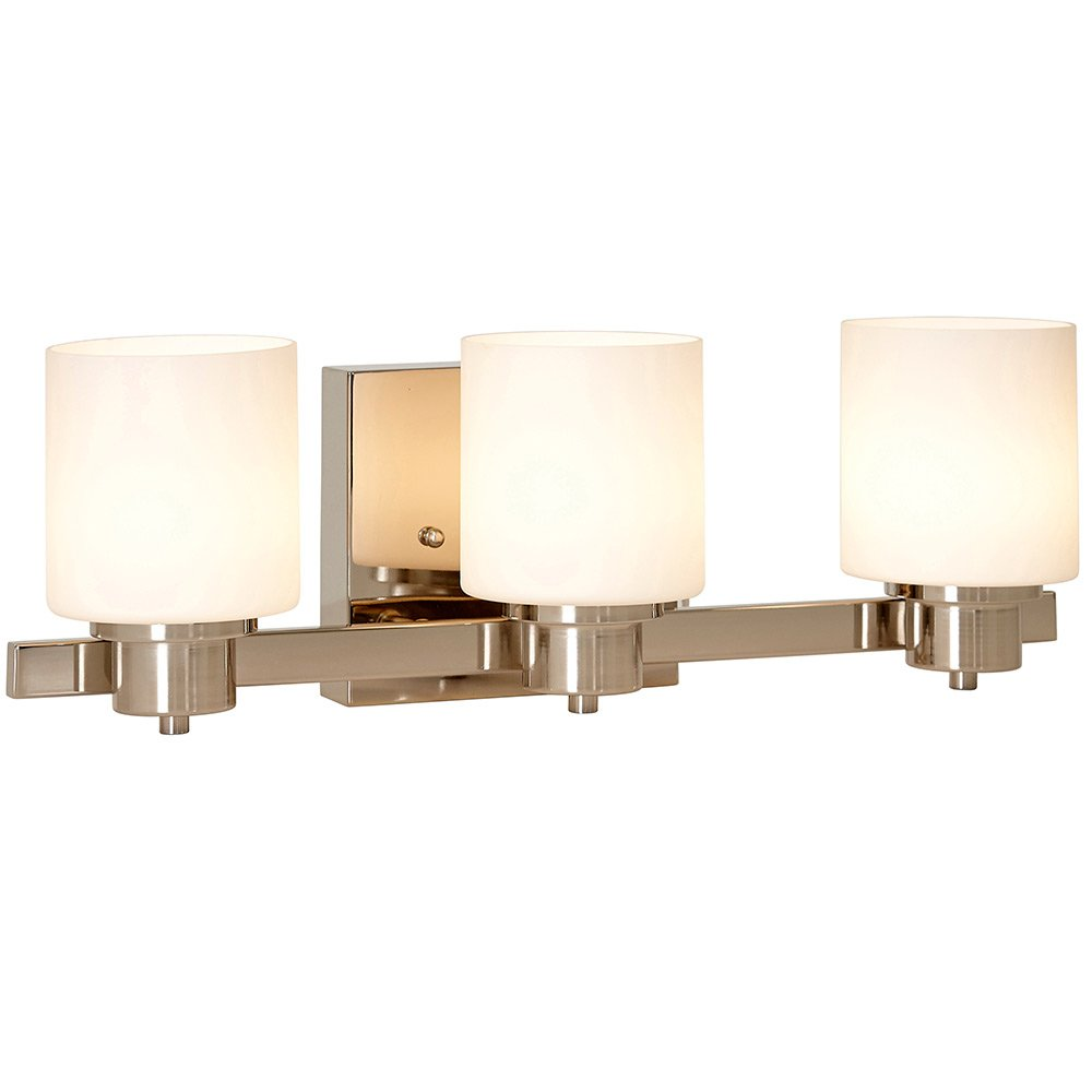 Traditional Polished Nickel Three Light Wall Sconce | LED Vanity Light Fixture | Modern Clean Triple Shade Bar Lights by Hamilton Hills
