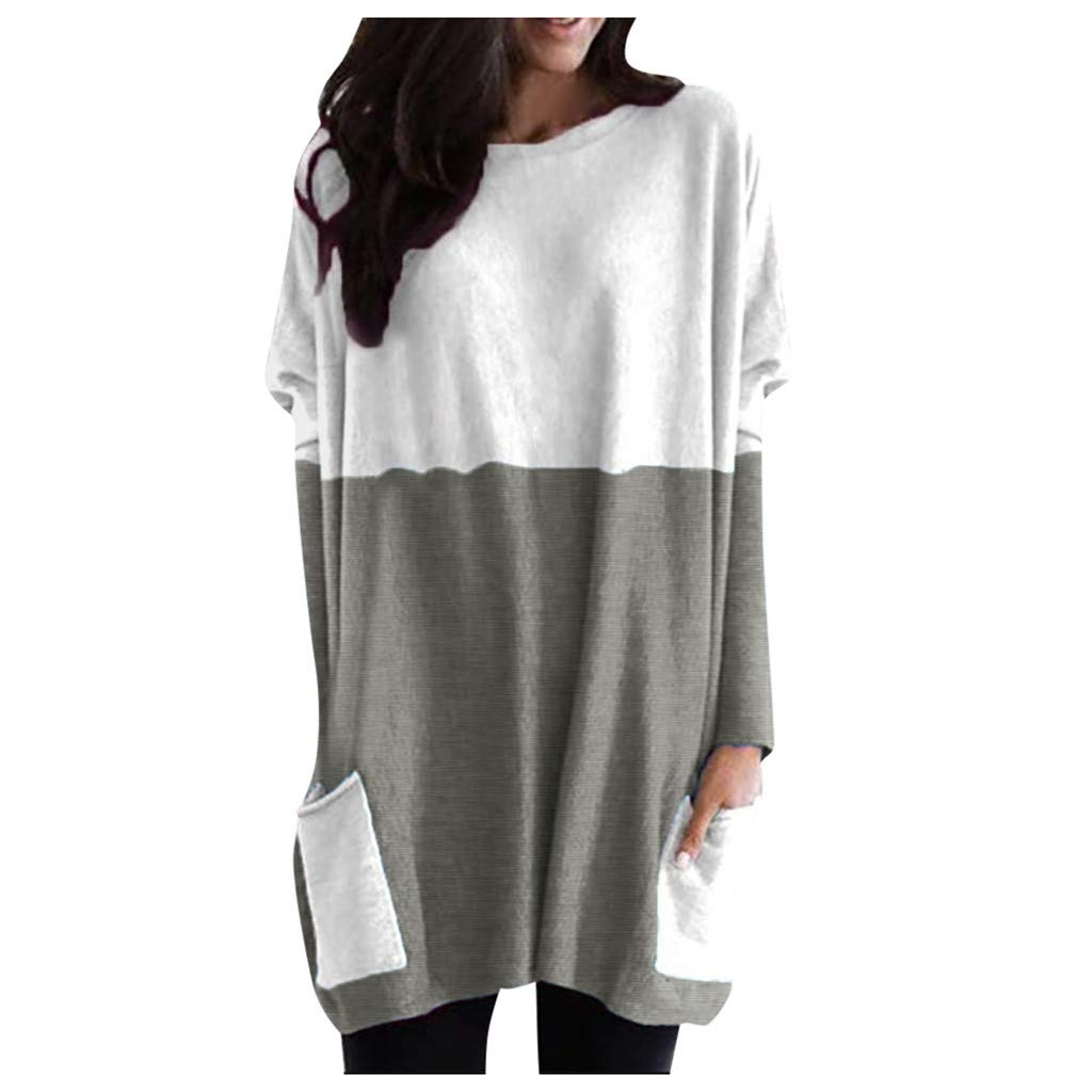 LBPSUUEW Womens Blouse Casual Long Sleeve Patchwork Pockets Sweatshirt O-Neck Loose Cotton Tops