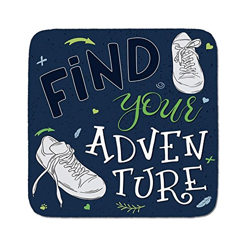 Cozy Seat Protector Pads Cushion Area Rug,Adventure,Youthful Design Find Your Adventure Quote Forest Elements and Sneakers Decorative,Dark Blue Black Green,Easy to Use on Any ()